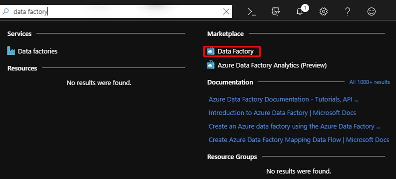 Tworzenie zasobu Azure Data Factory.