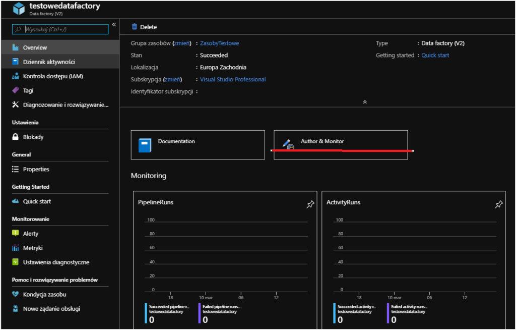 Budowa procesu transferu danych w Azure Data Factory.